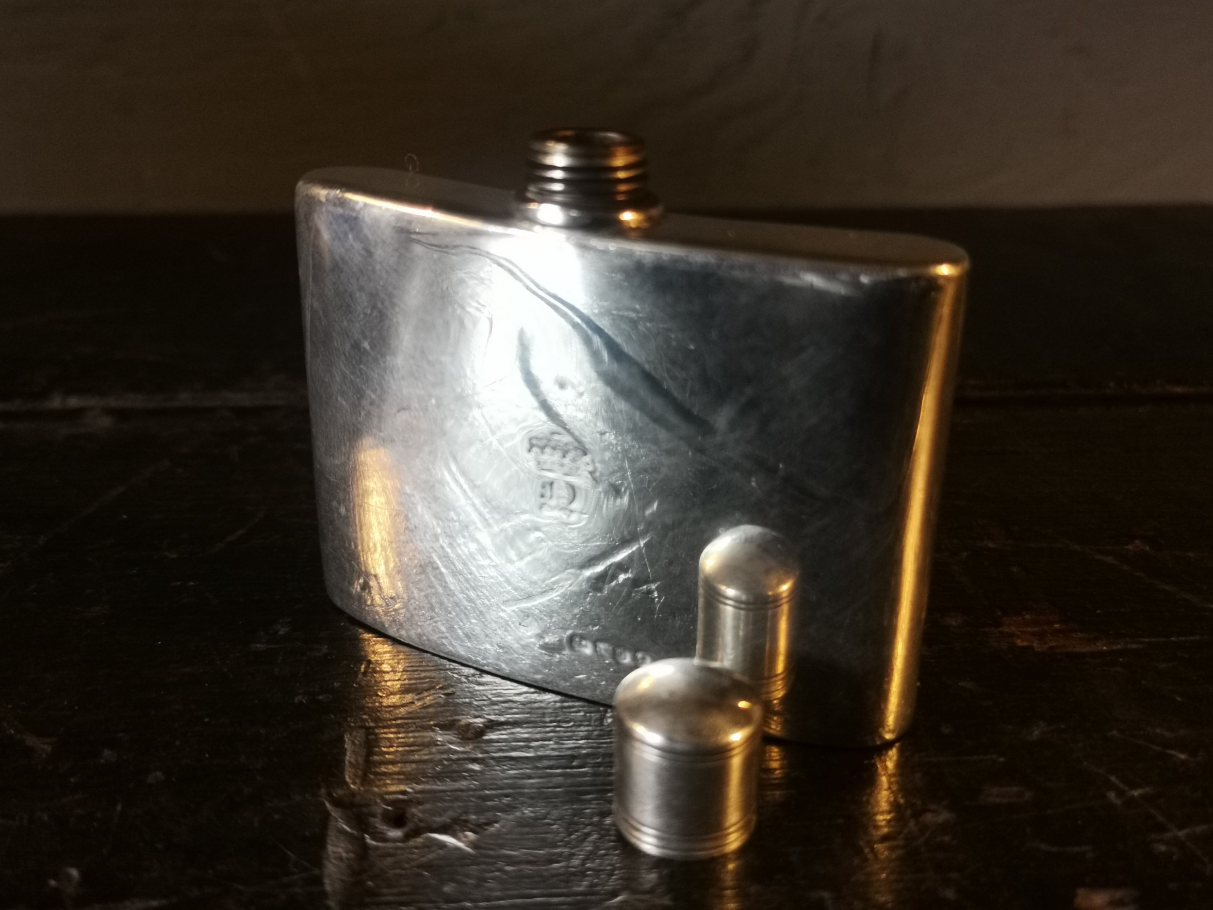 a victorian solid silver hip flask