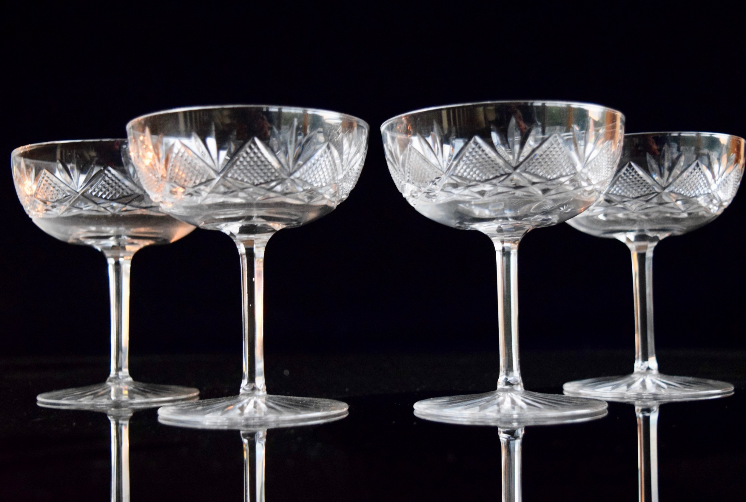 4 french champagne glasses in the style of st louis c 1920