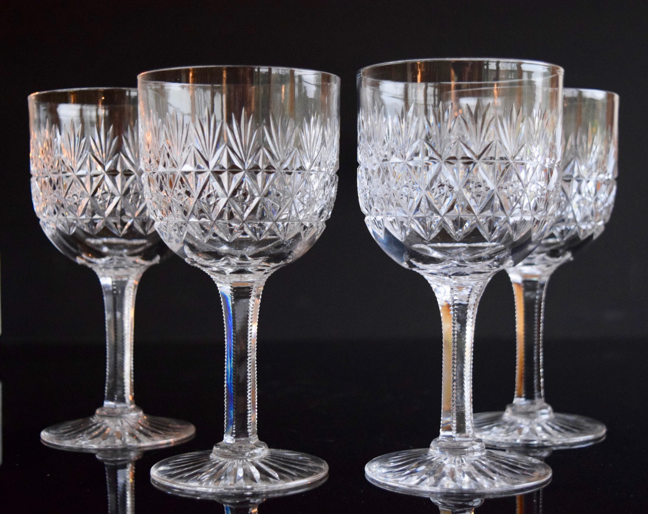 4 thomas webb wellington water goblets c1930