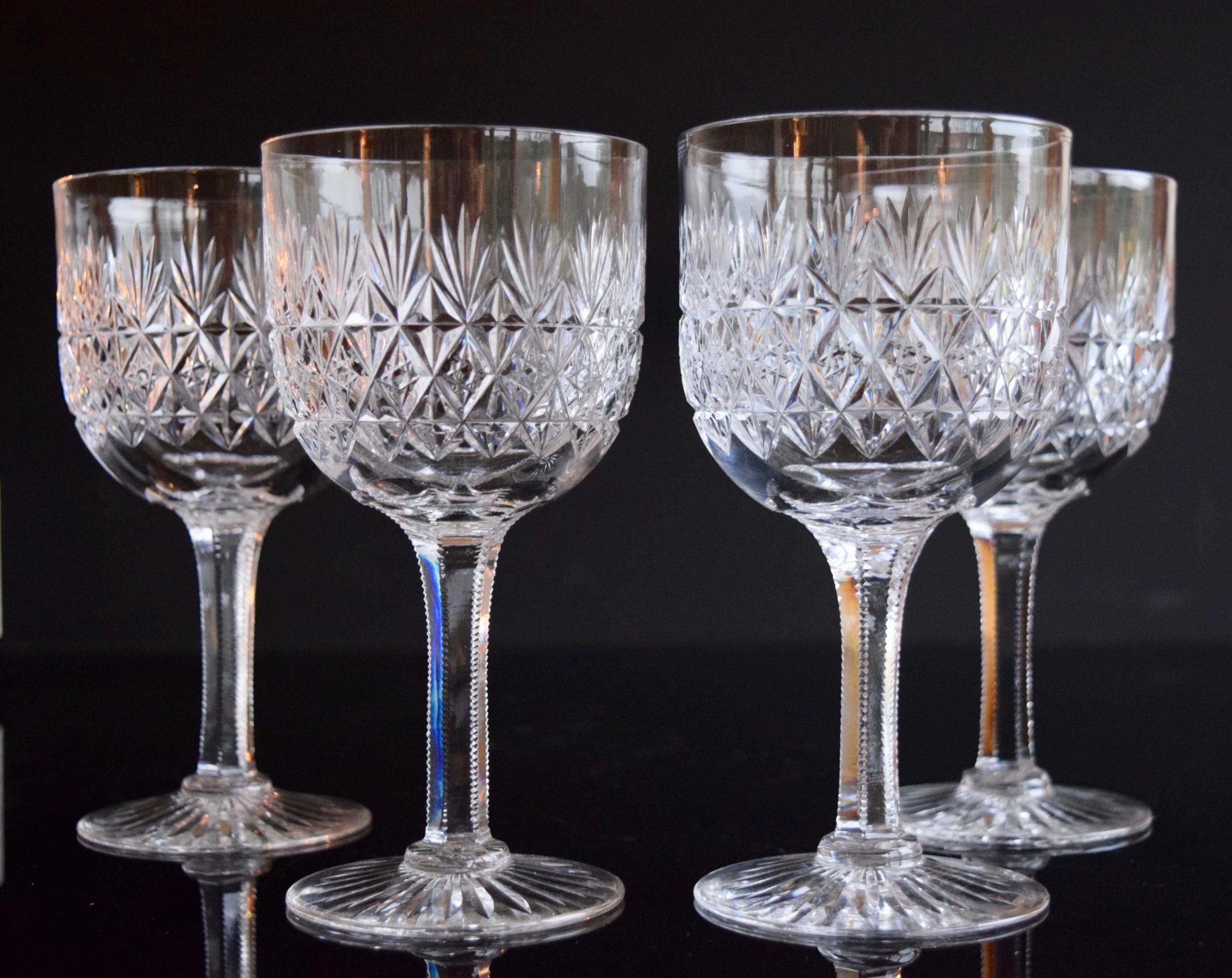 4 thomas webb wellington water goblets c1930