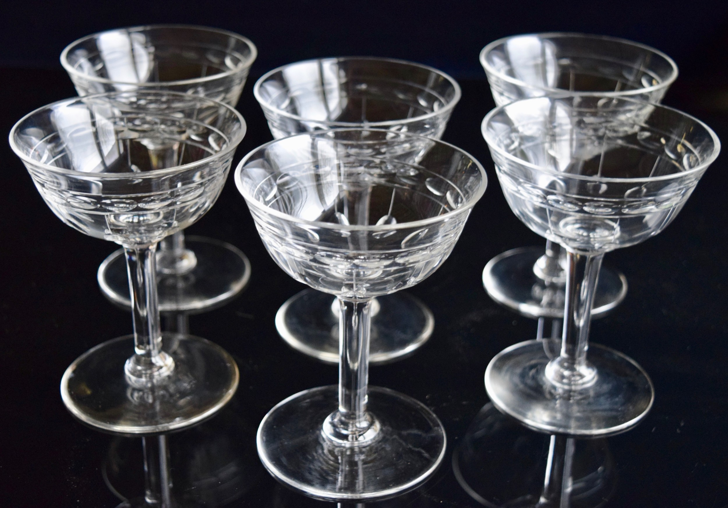 6 Val St Lambert Art Deco Champagne Glasses 524121 Sellingantiques Co Uk