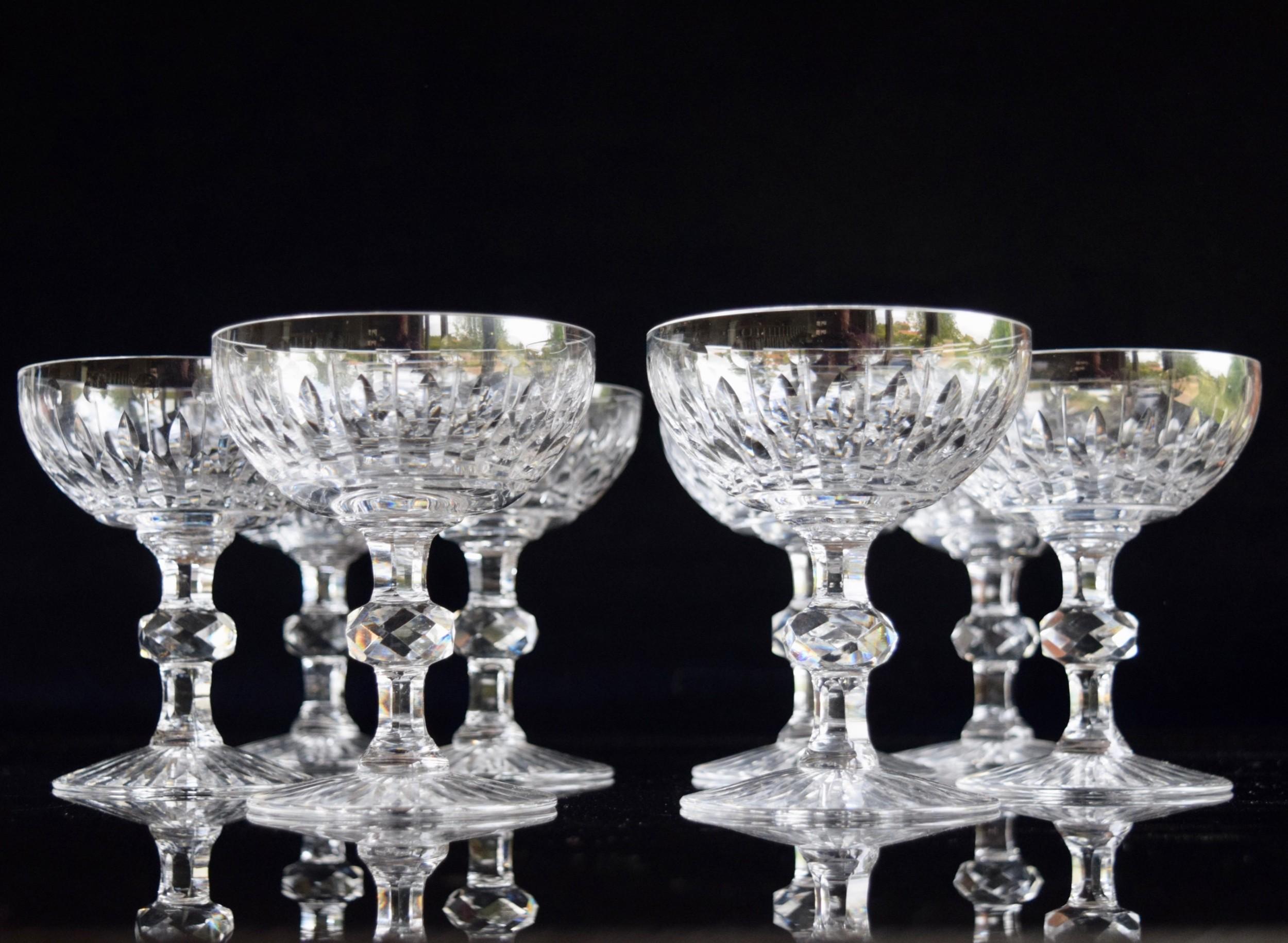 8 val saint lambert charles x champagne glasses c1930