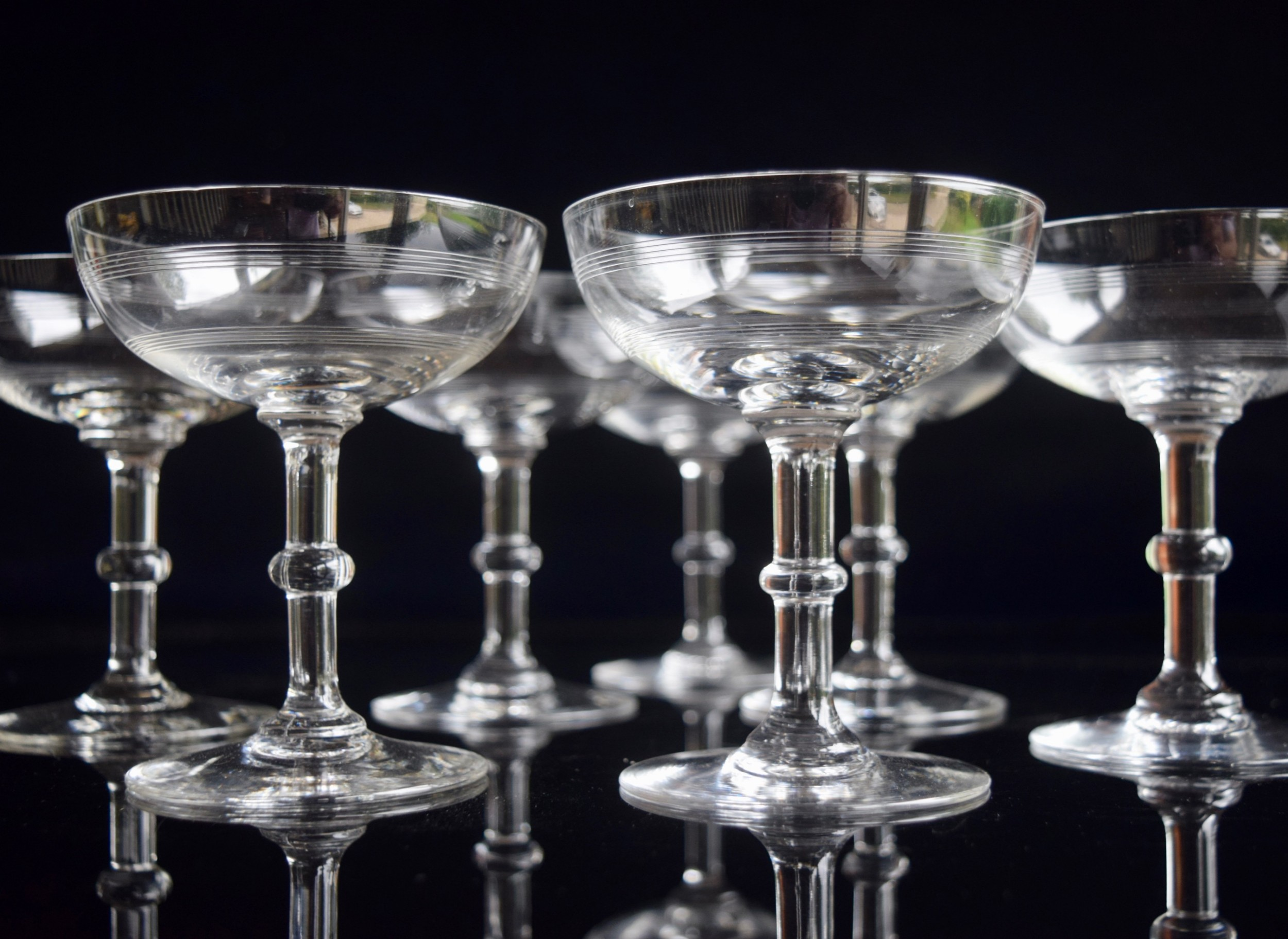 7 Baccarat Crystal Filet Champagne Coupes Belle Epoque 717317 Sellingantiques Co Uk