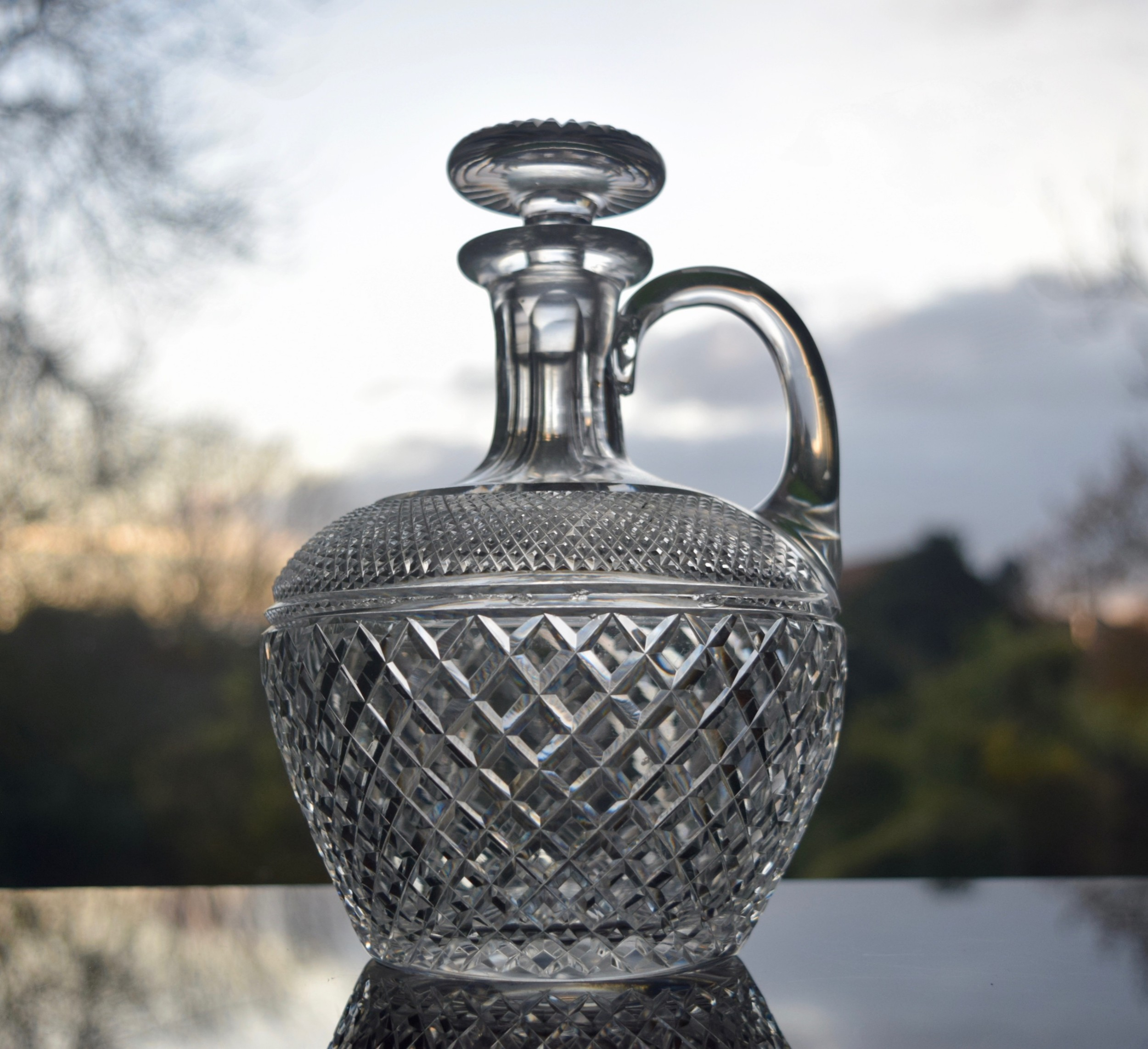 french crystal liqueur handled decanter c 1930