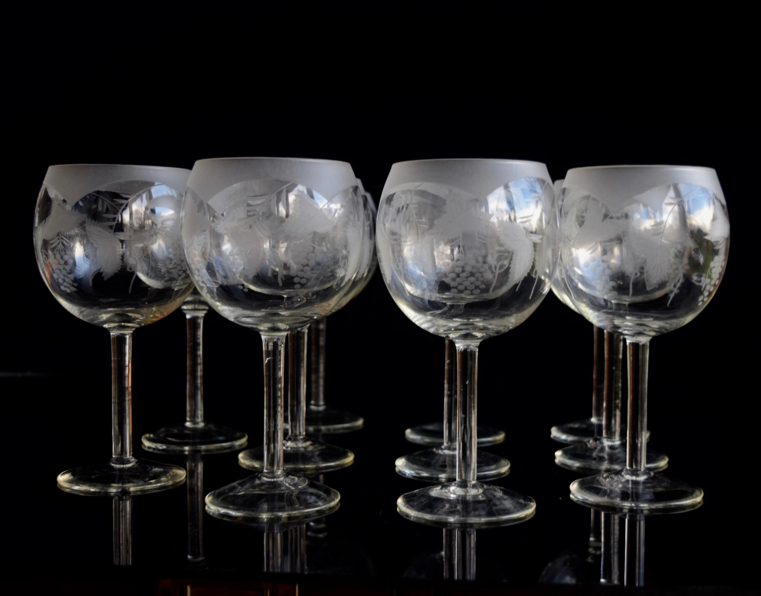 11 burgundy tasting glasses etched crystal c 1930