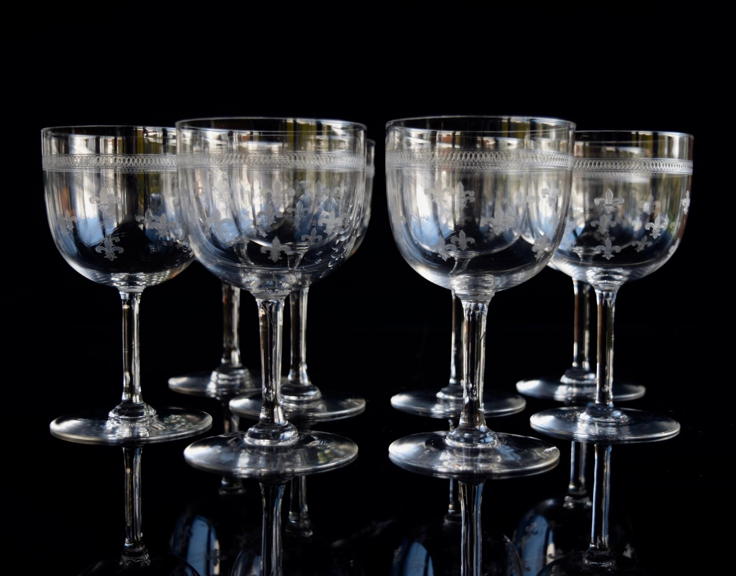 8 val saint lambert fleur de lys wine glasses 1920s