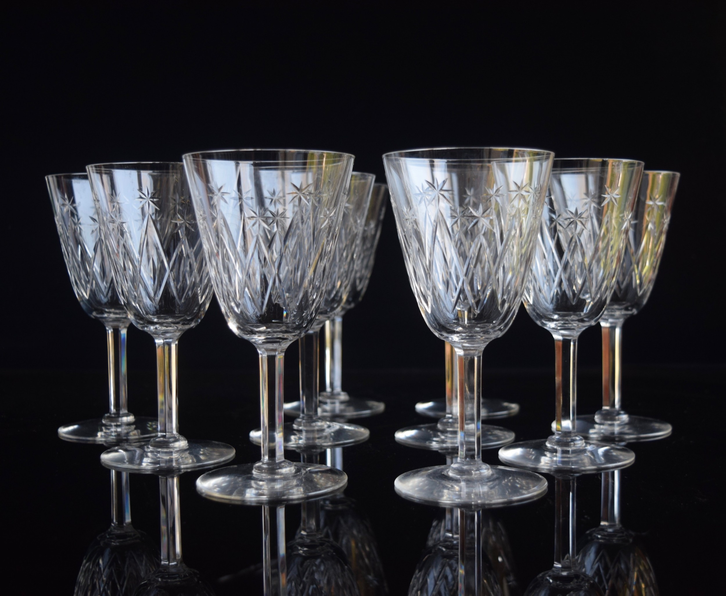 10 french crystal wine glasses