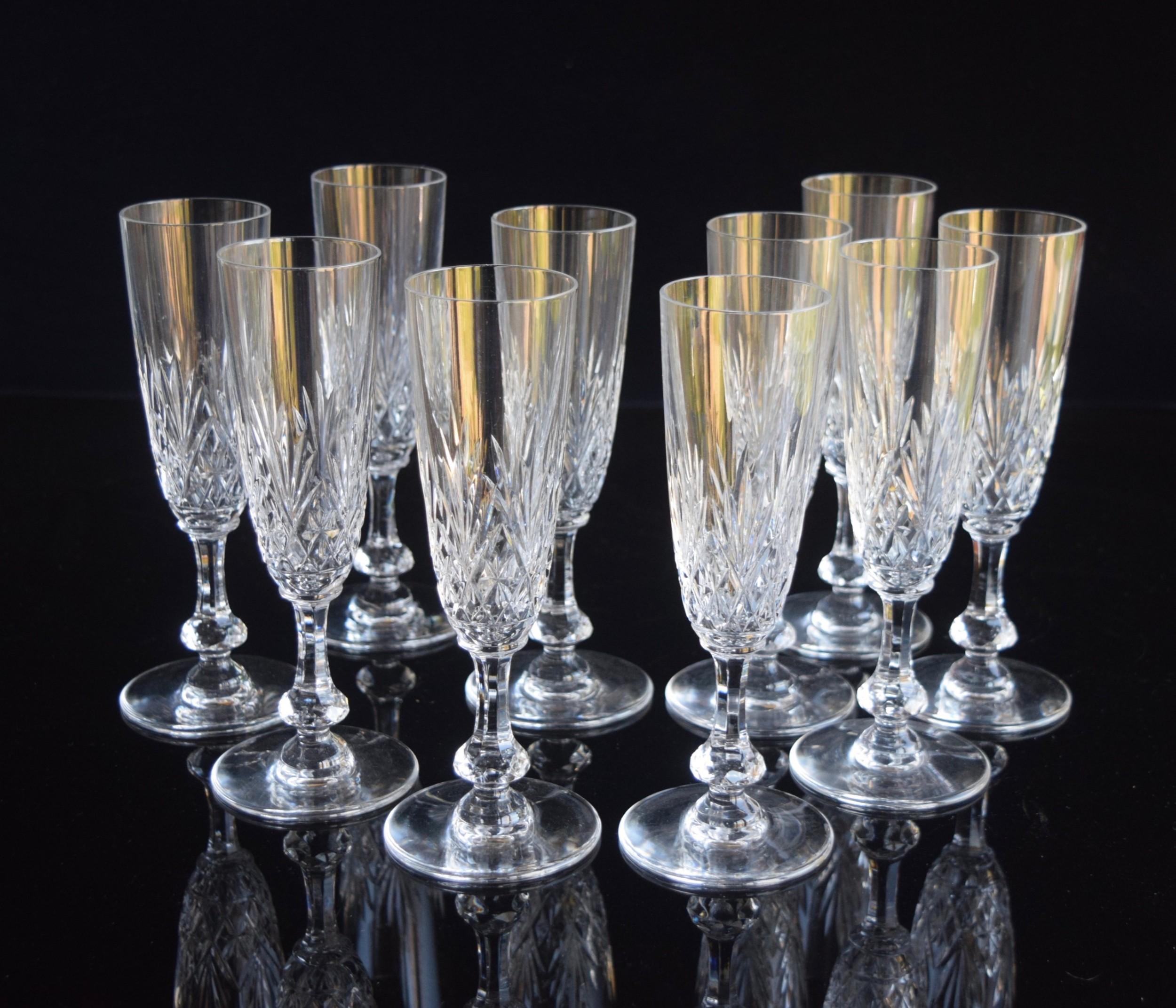 10 st louis crystal massenet champagne flutes