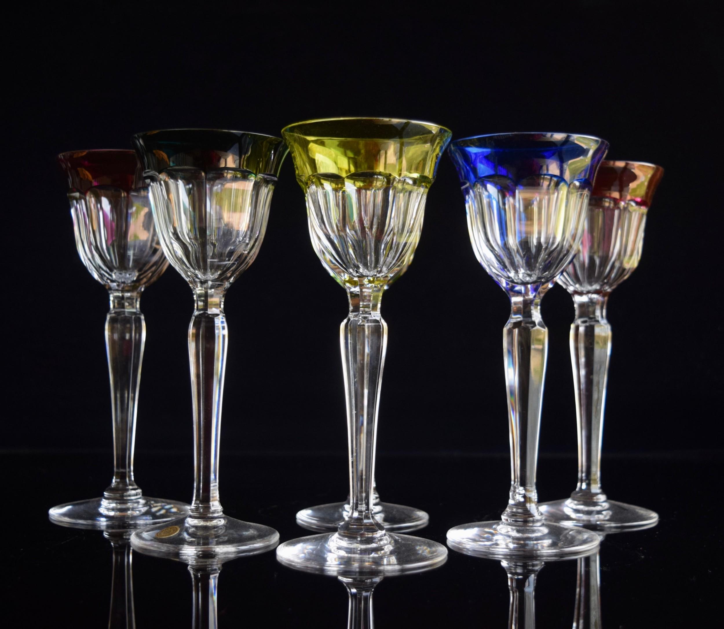 6 val saint lambert seville coloured wine glasses