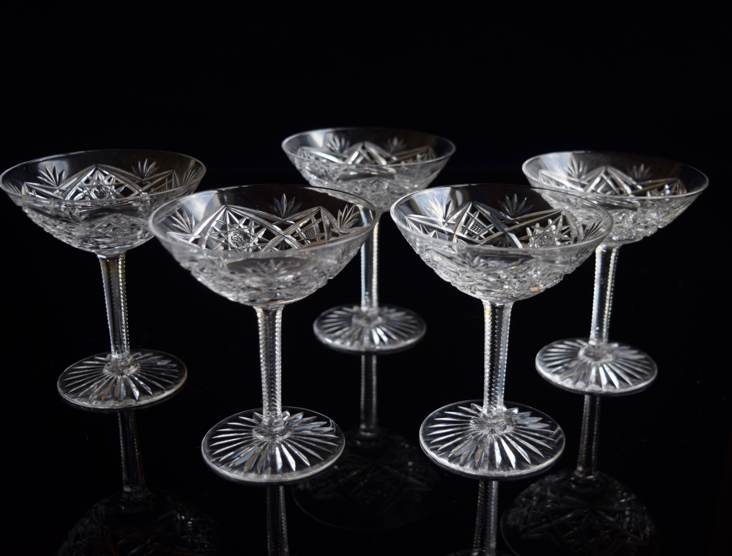 5 baccarat champagne cocktail glasses c 1920