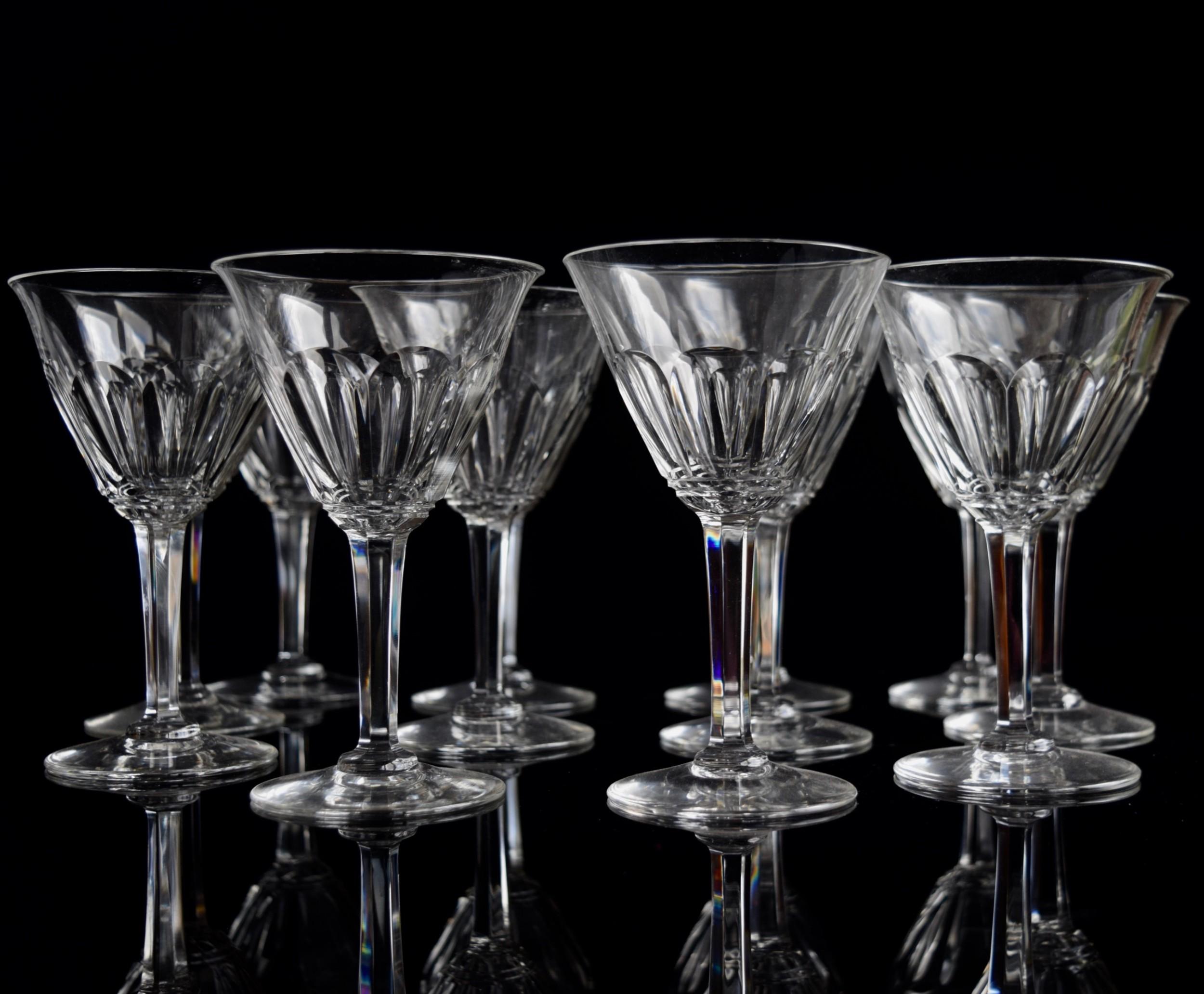 12 french white wine glasses c1930