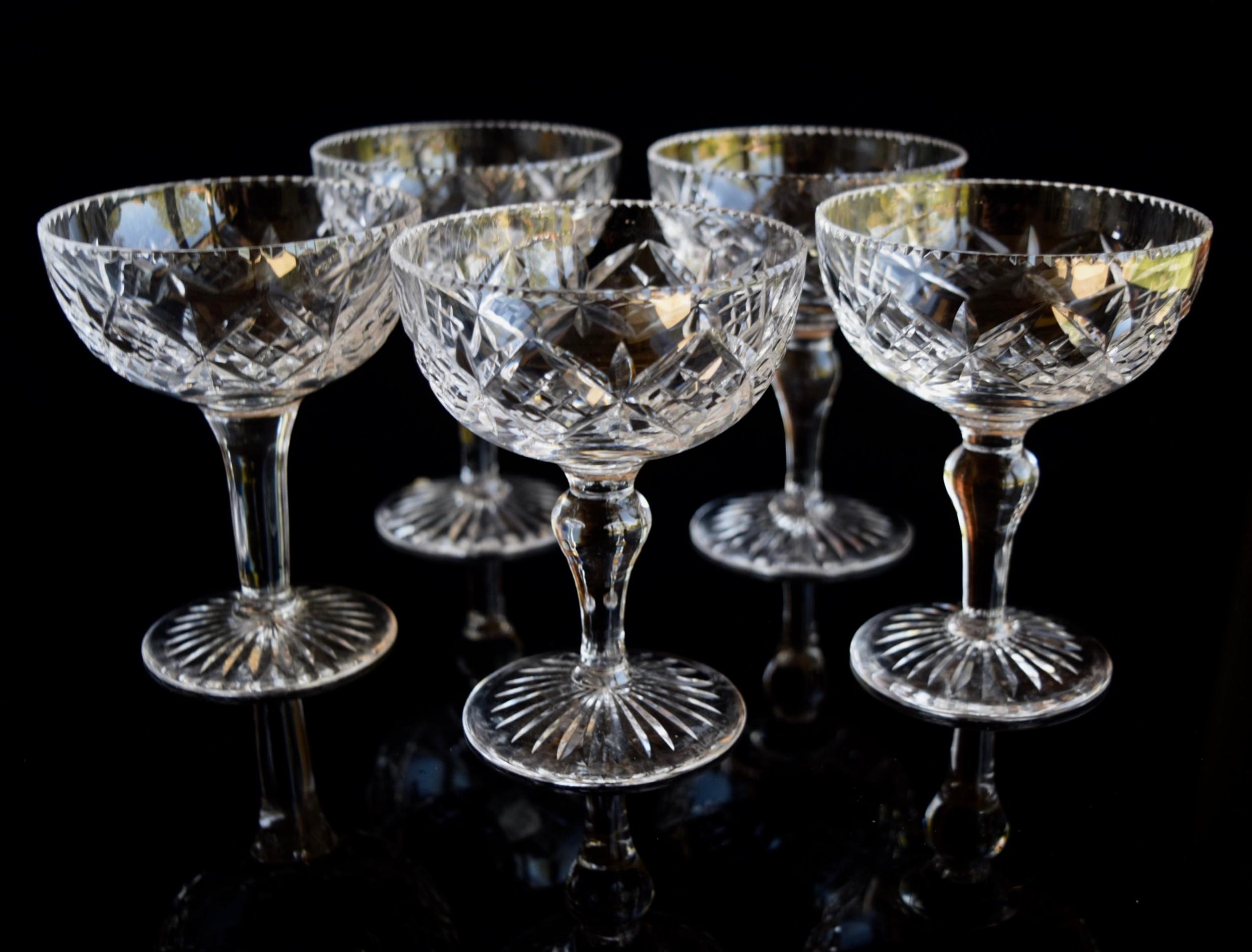 5 stuart crystal champagne glasses houndstooth rims