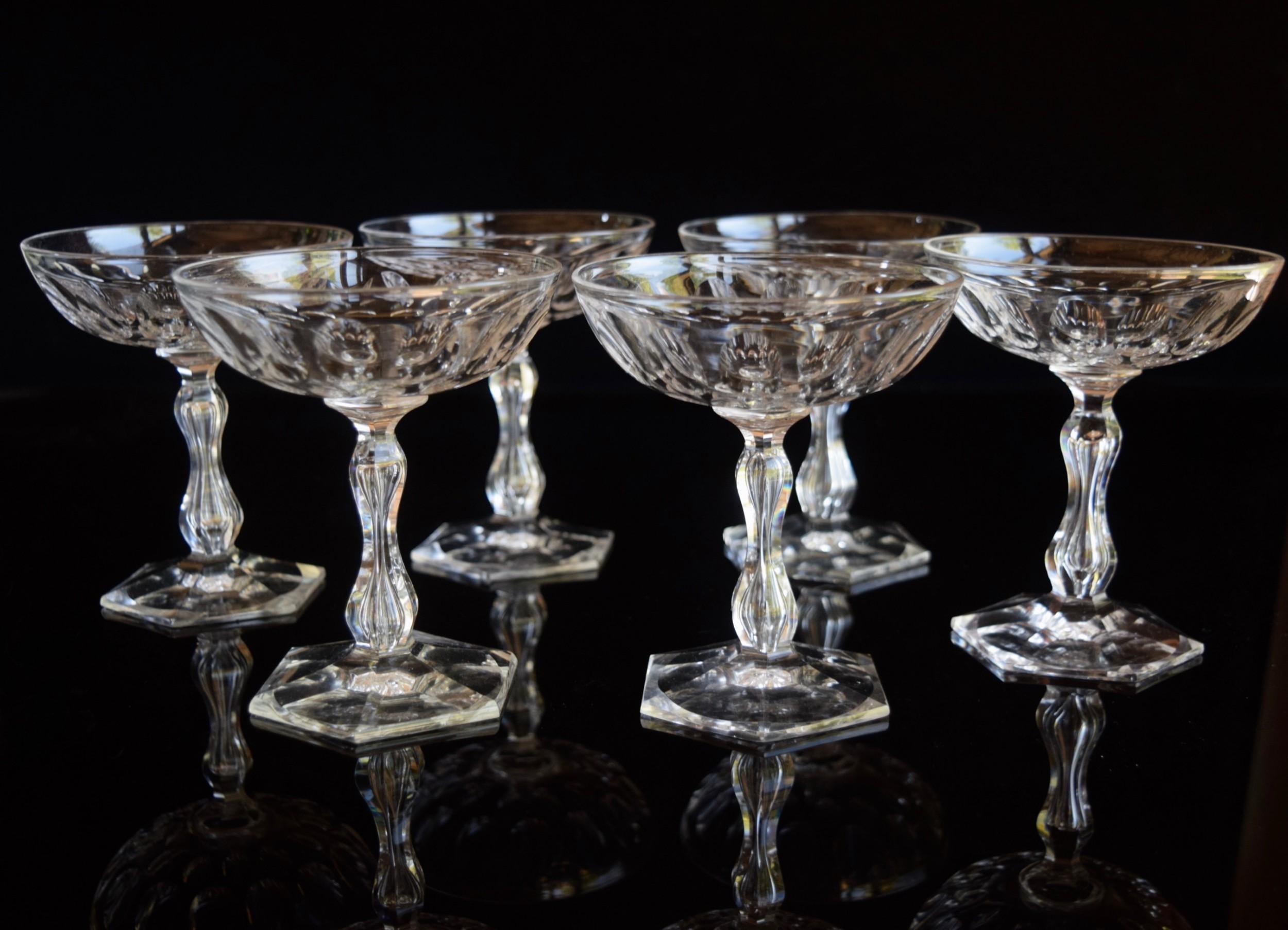 6 or12 val saint lambert queen anne champagne glasses c1930