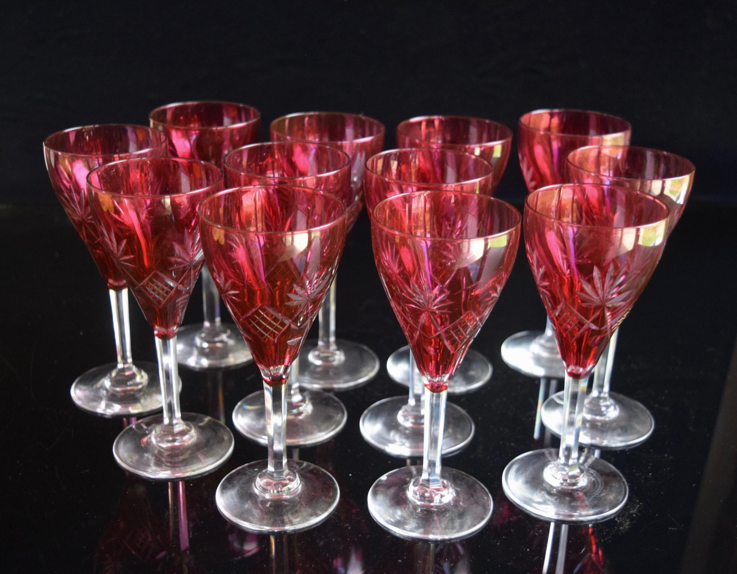 12 val saint lambert ruby coloured small wine glasses c1920s
