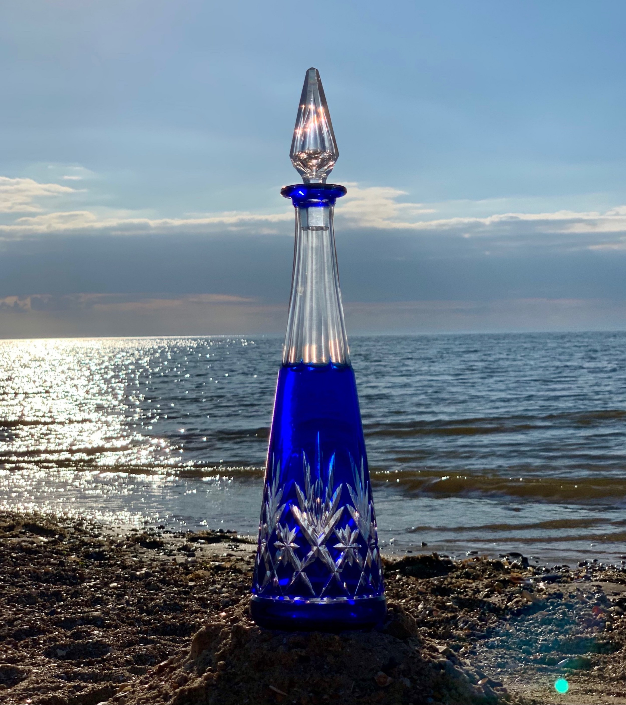 st louis crystal massenet cobalt blue decanter c 1920