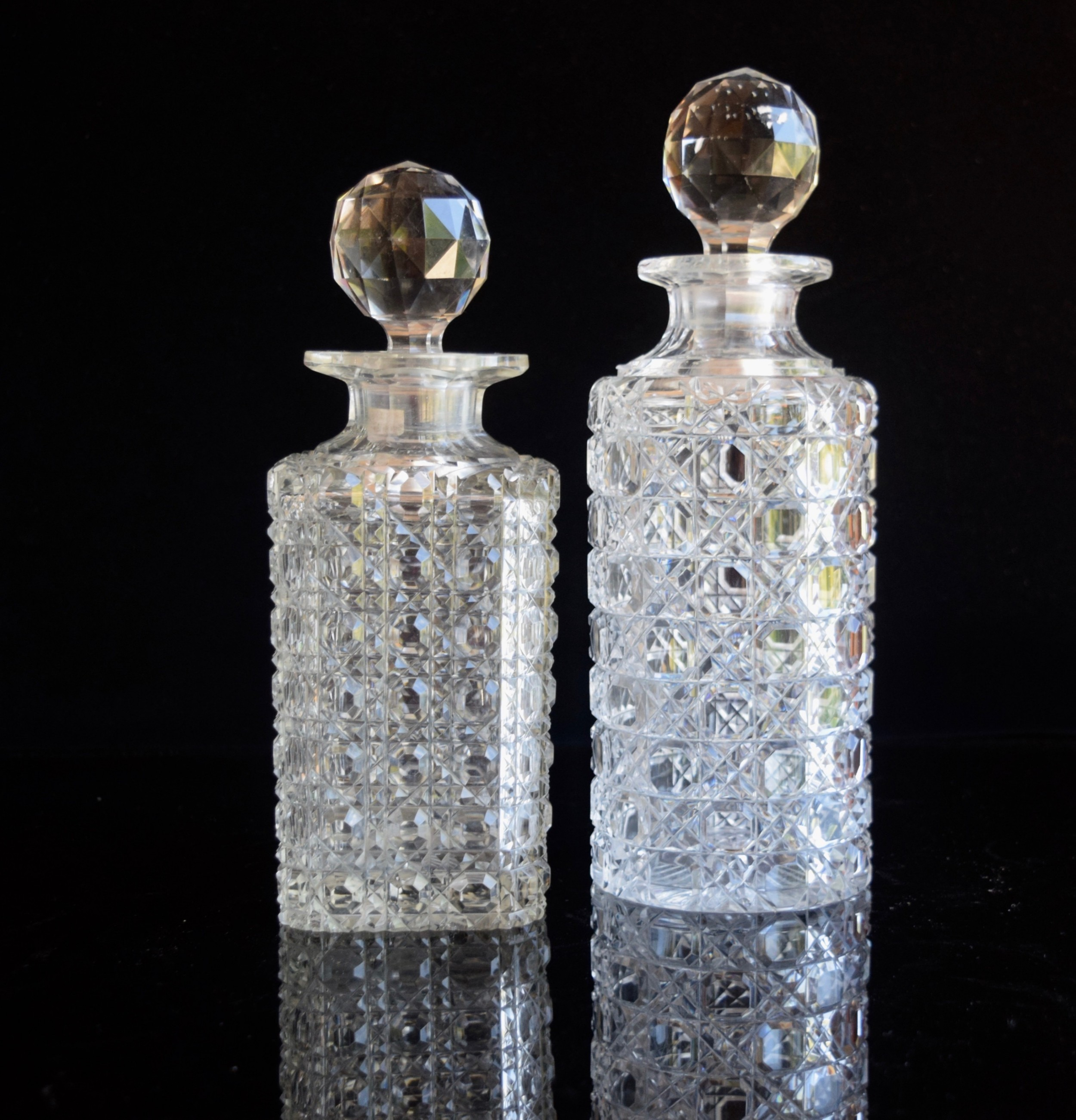 two hobnail decanters 18901910