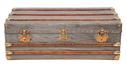 antique french zinc explorer travel trunk
