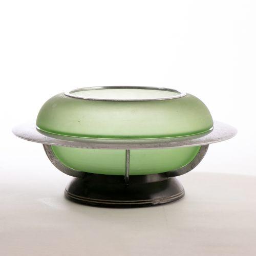 british art deco green glass chrome centre bowl by joseph lucas c1930