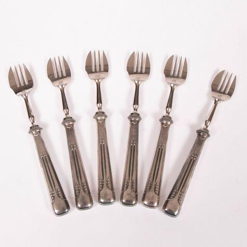 set of six jugendstil silver plated oyster forks by wmf germany