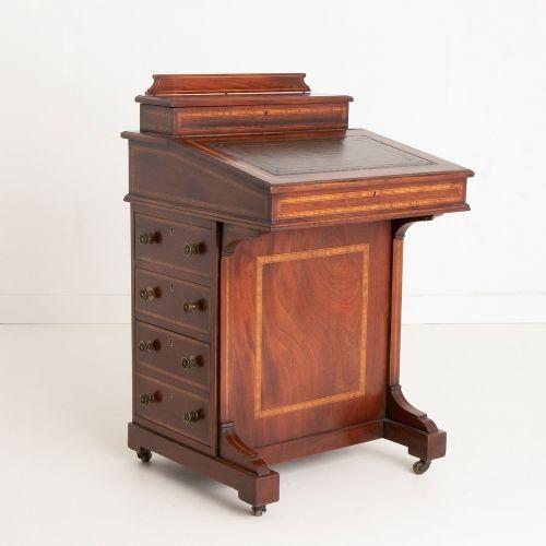 edwardian inlaid mahogany davenport desk c1910