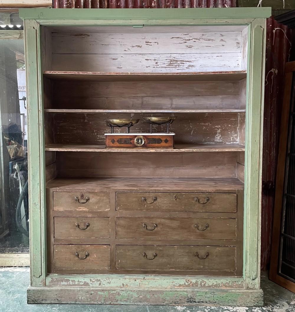victorian pine painted housekeepers cupboard