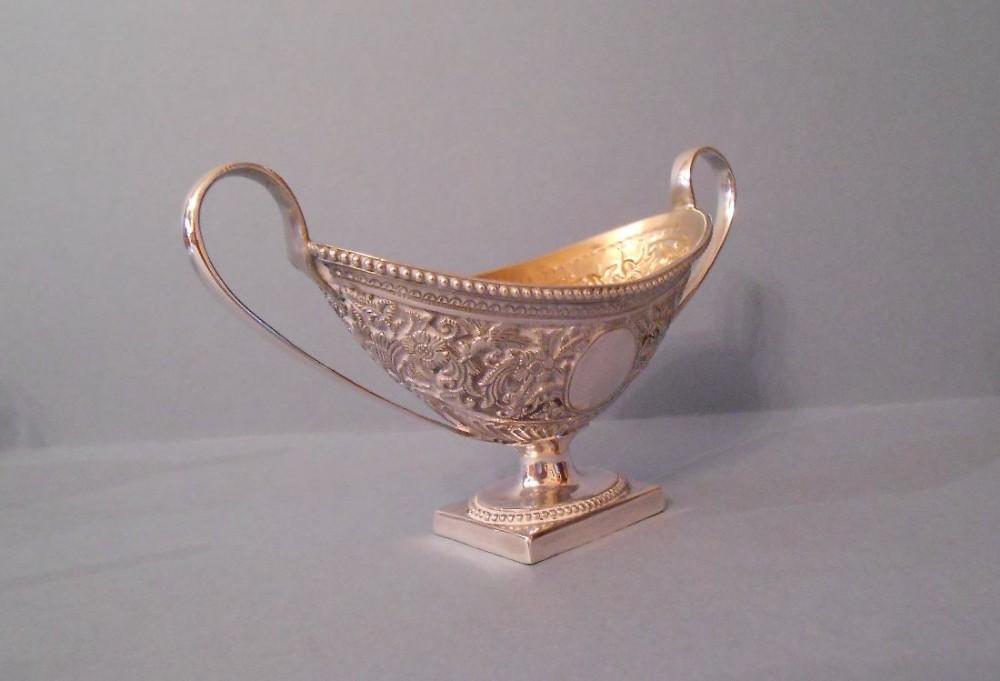 set of four antique victorian solid silver pedestal salts