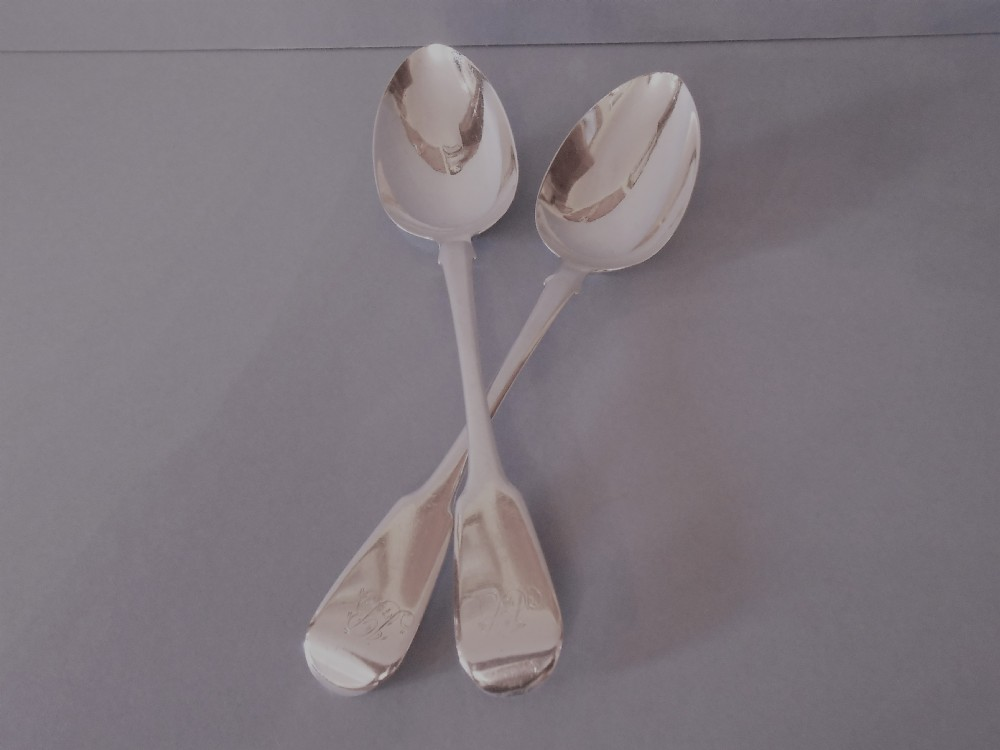 pair of antique silver george iii serving spoons