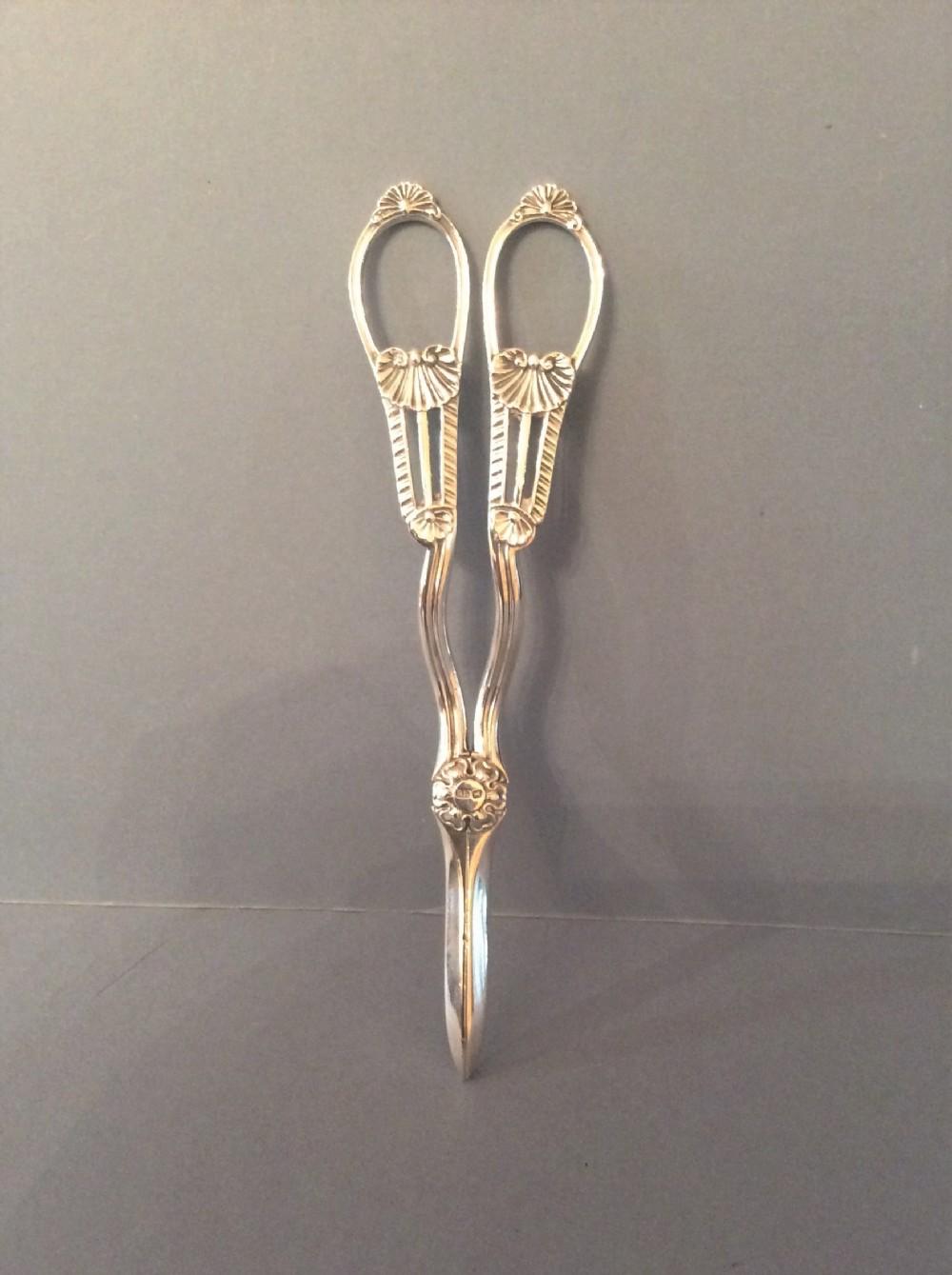 pair of antique victorian solid silver grape scissors