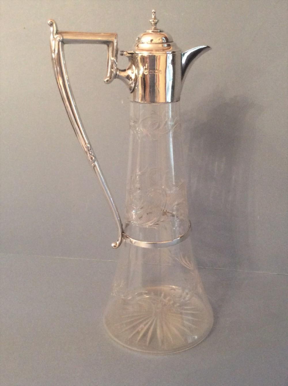 antique victorian solid silver mounted claret jug