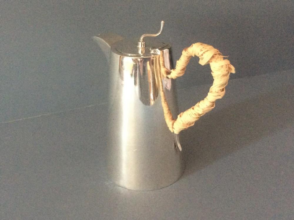 unusual antique edwardian solid silver lidded hot milk jug