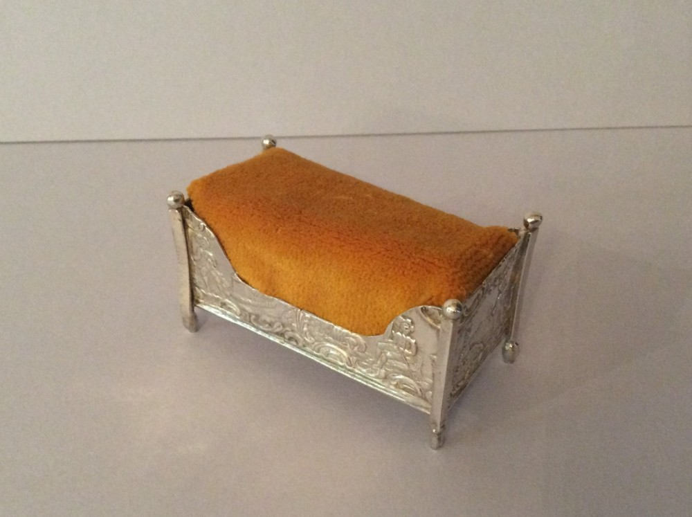 antique solid silver cradle pin cushion