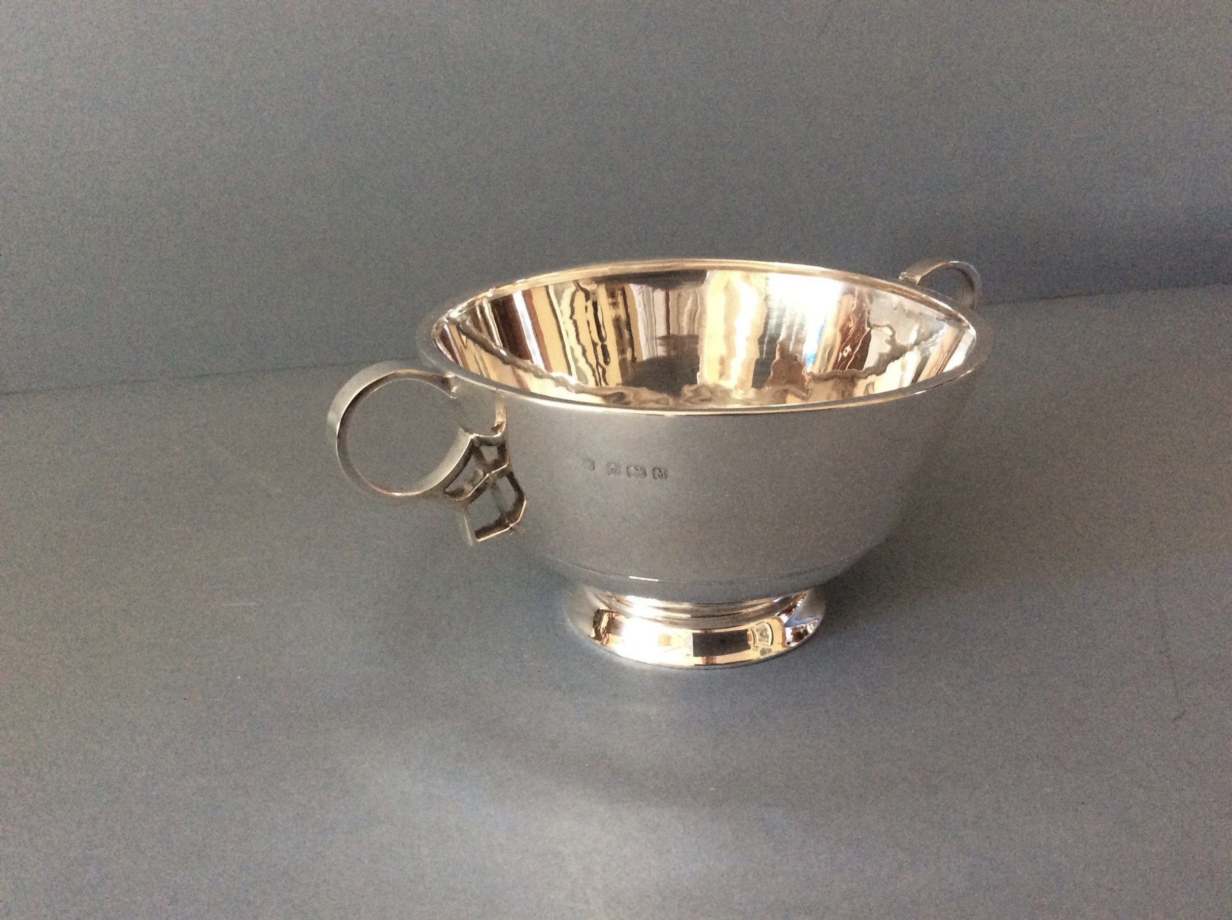 antique silver twinhandled bowl