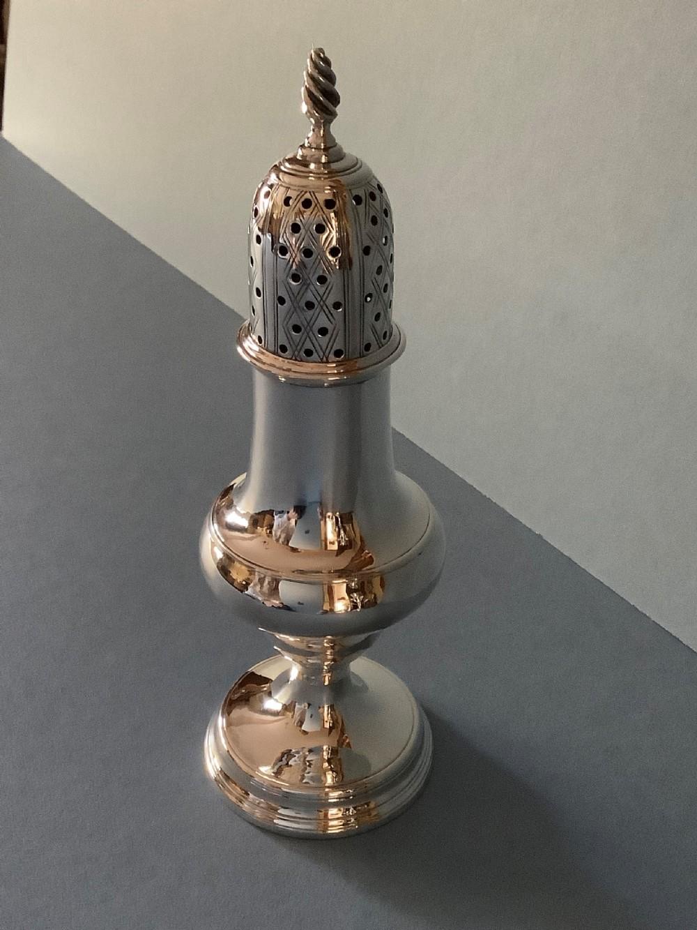 elegant antique georgian solid silver sugar caster