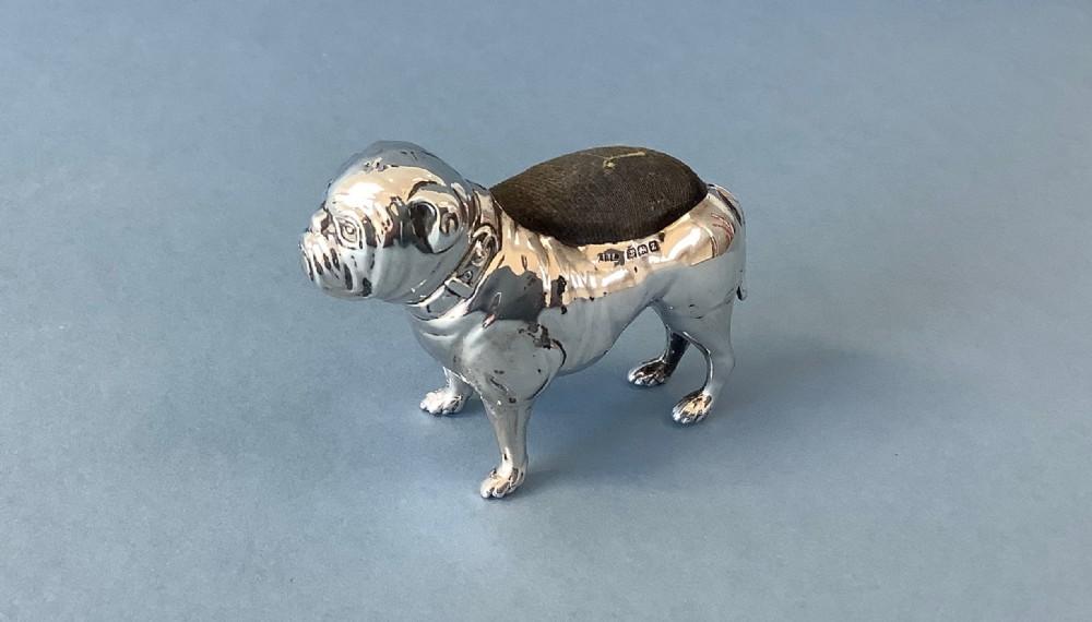 antique silver bulldog pin cushion