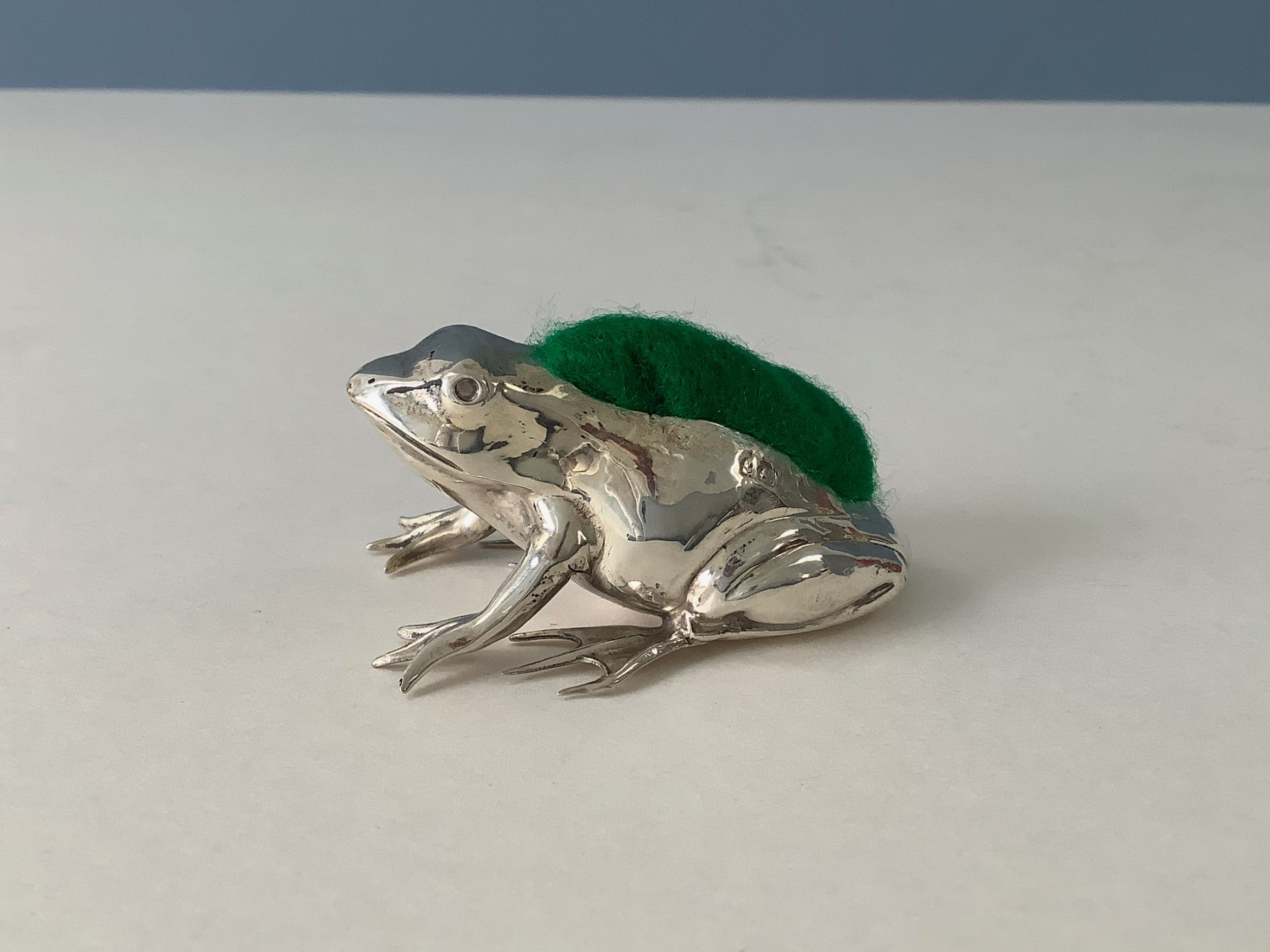 antique silver frog pin cushion