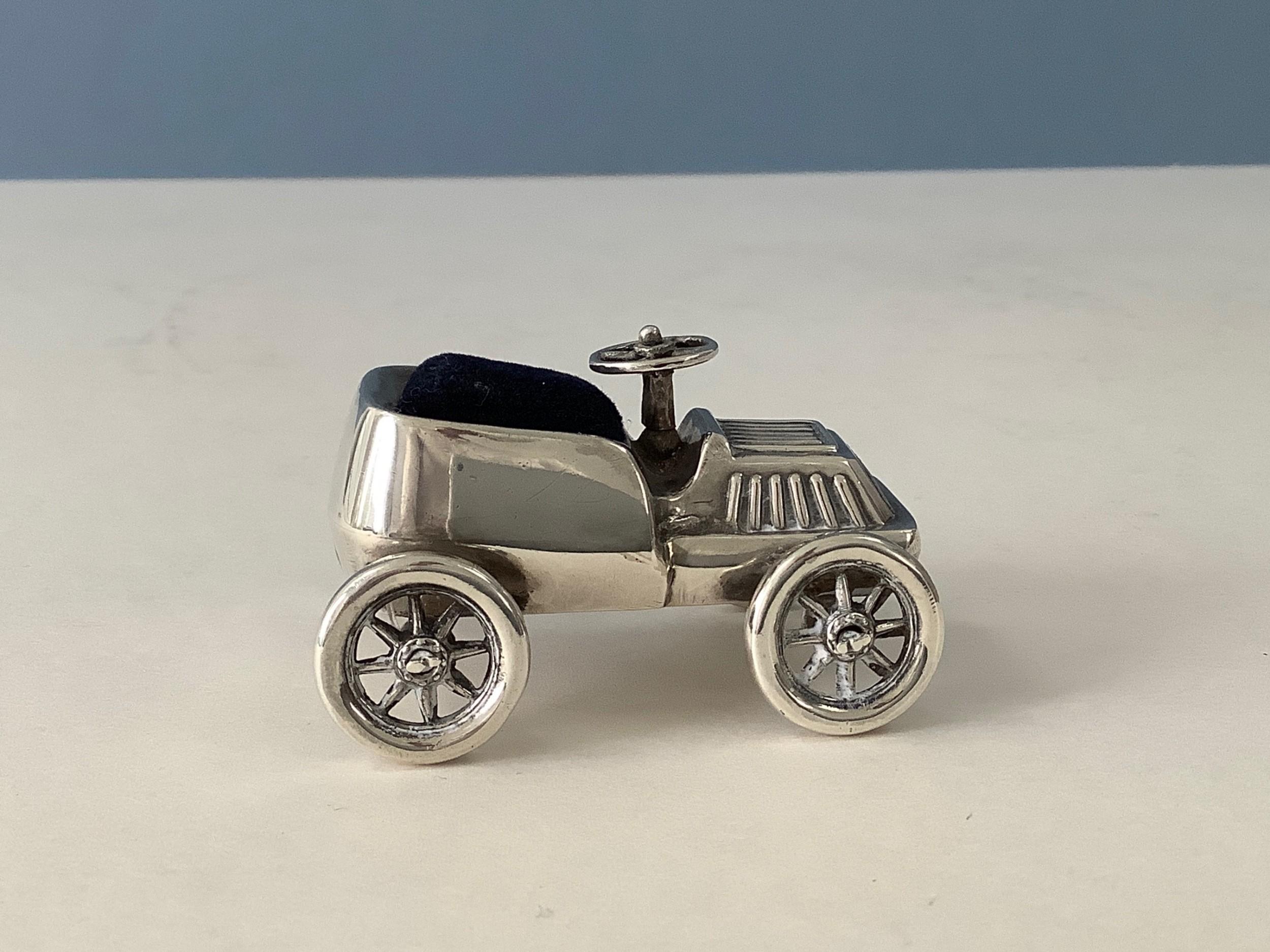 antique silver novelty vintage car pin cushion