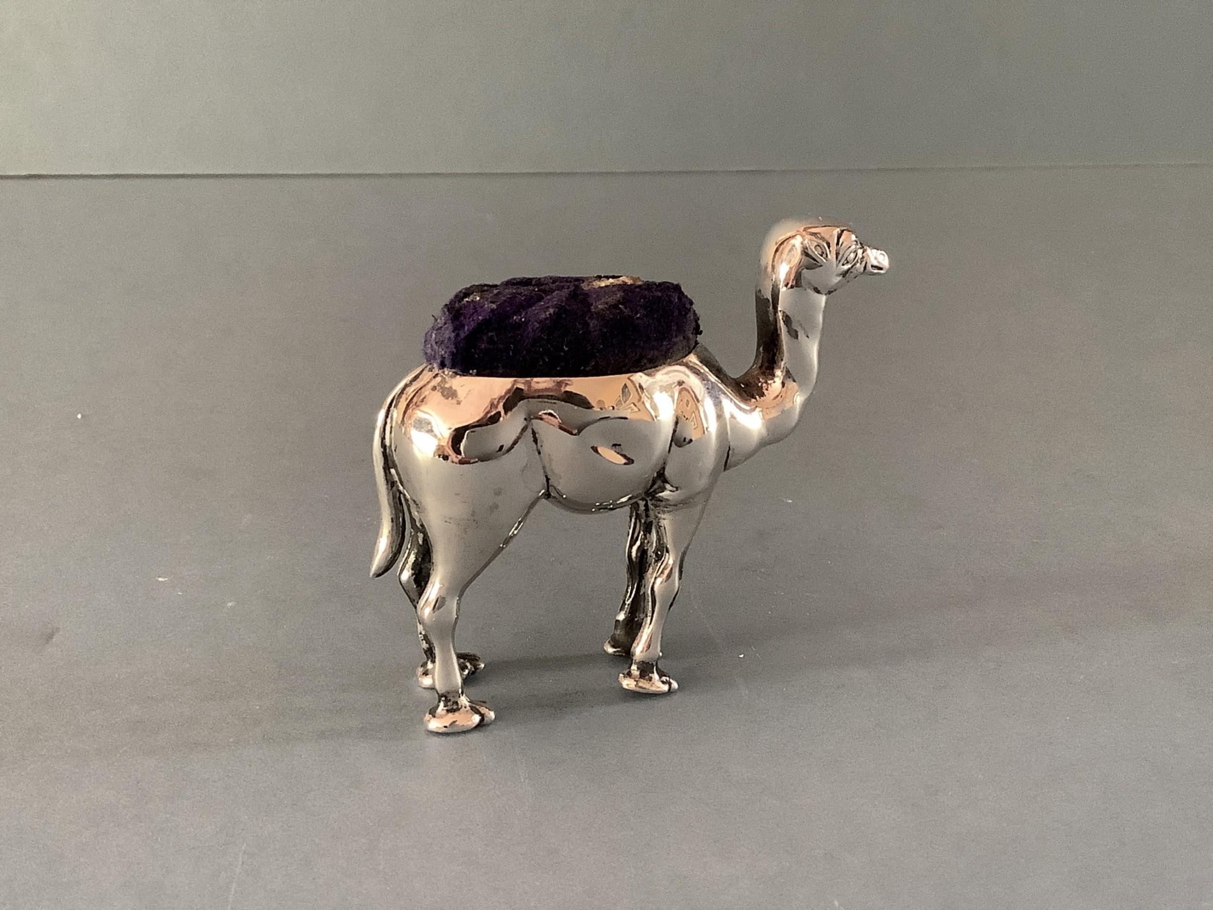antique silver novelty camel pin cushion