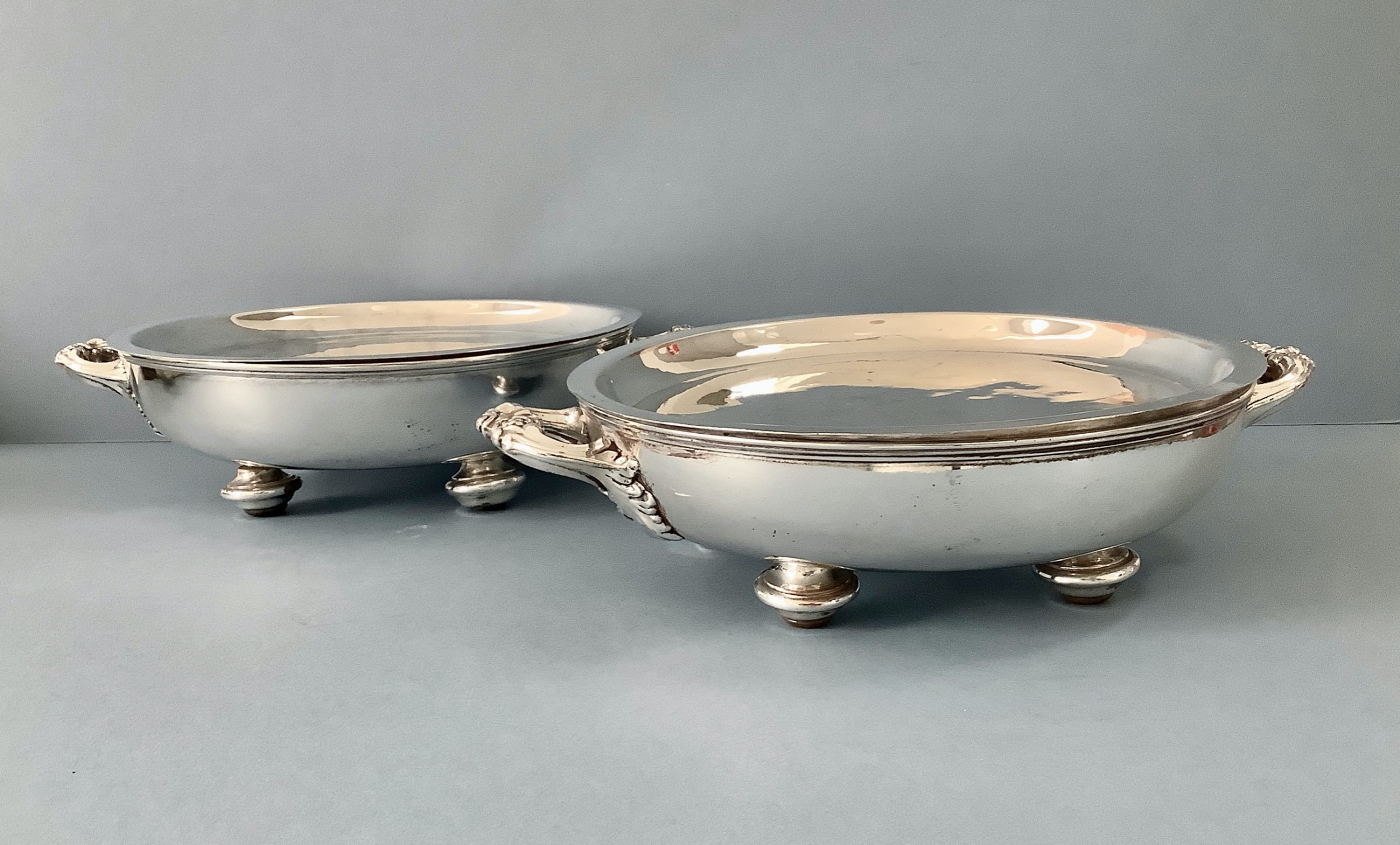 pair old sheffield plate warming dishes