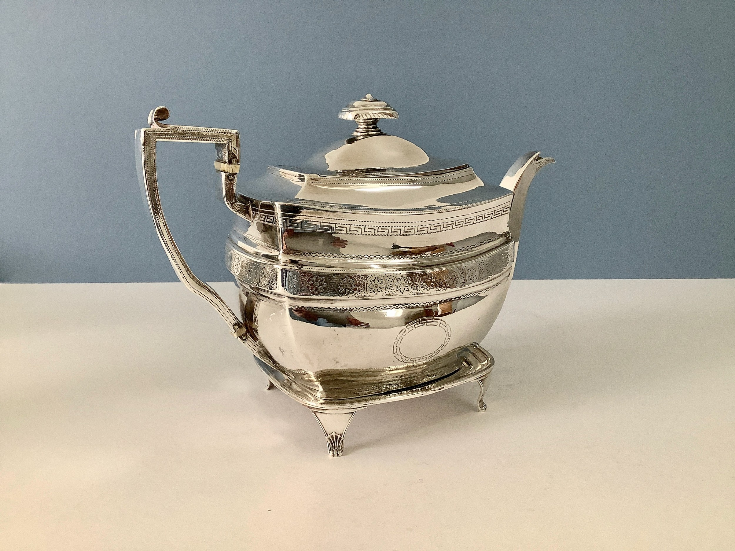 georgian solid silver teapot and stand 1807
