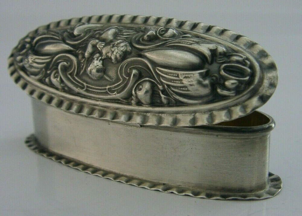 top quality english solid sterling silver art nouveau box 1904