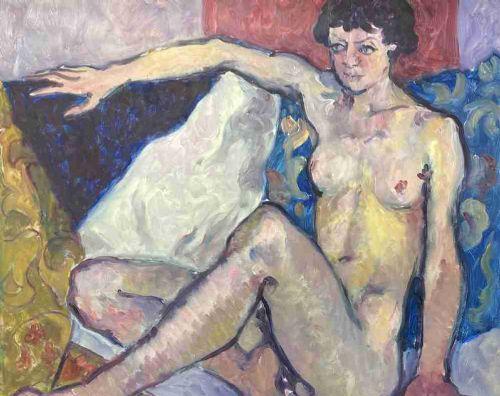 a reclining female nude by fyffe christie 1918 1979