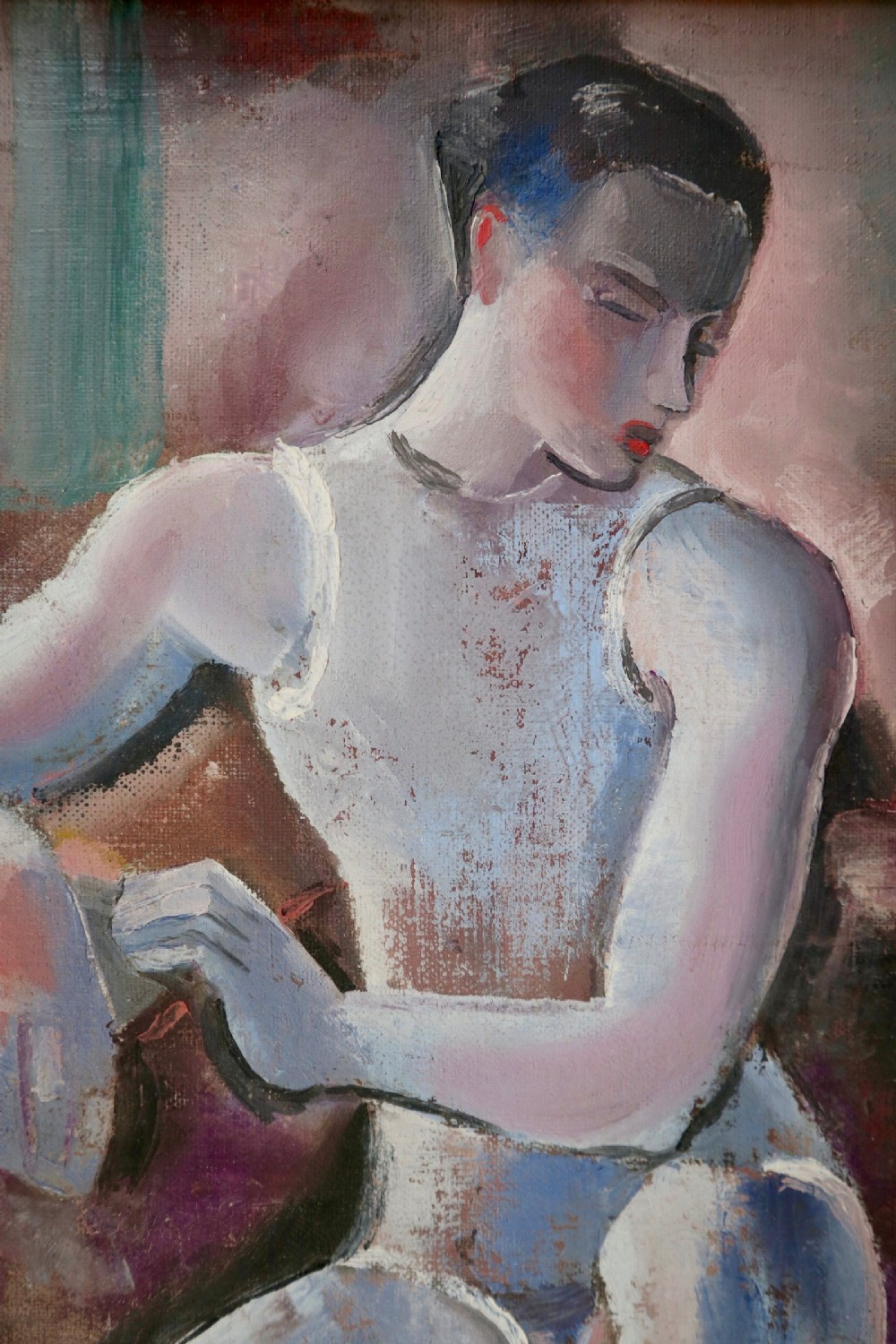 resting dancer circa 1939 oil on canvas by george frederick hinchcliff