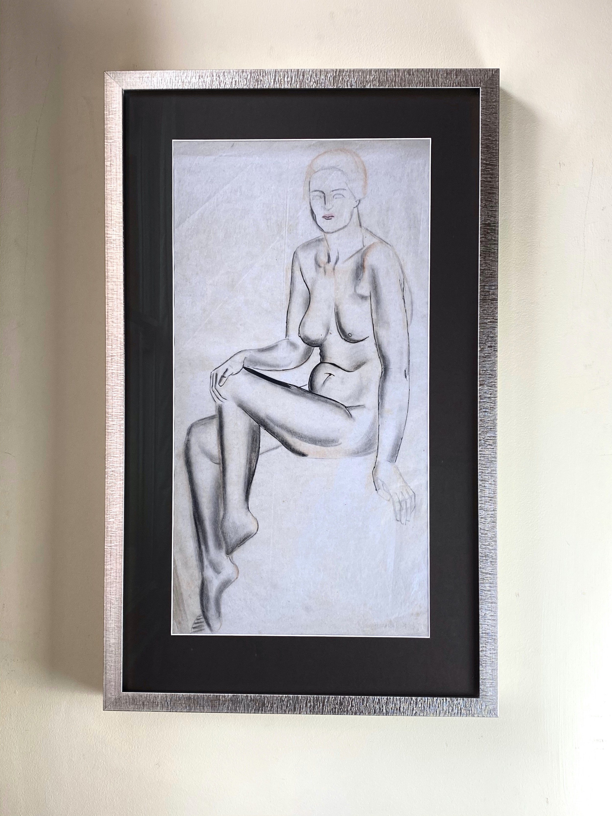 art deco female nude 1930's charcoal and crayon on paper