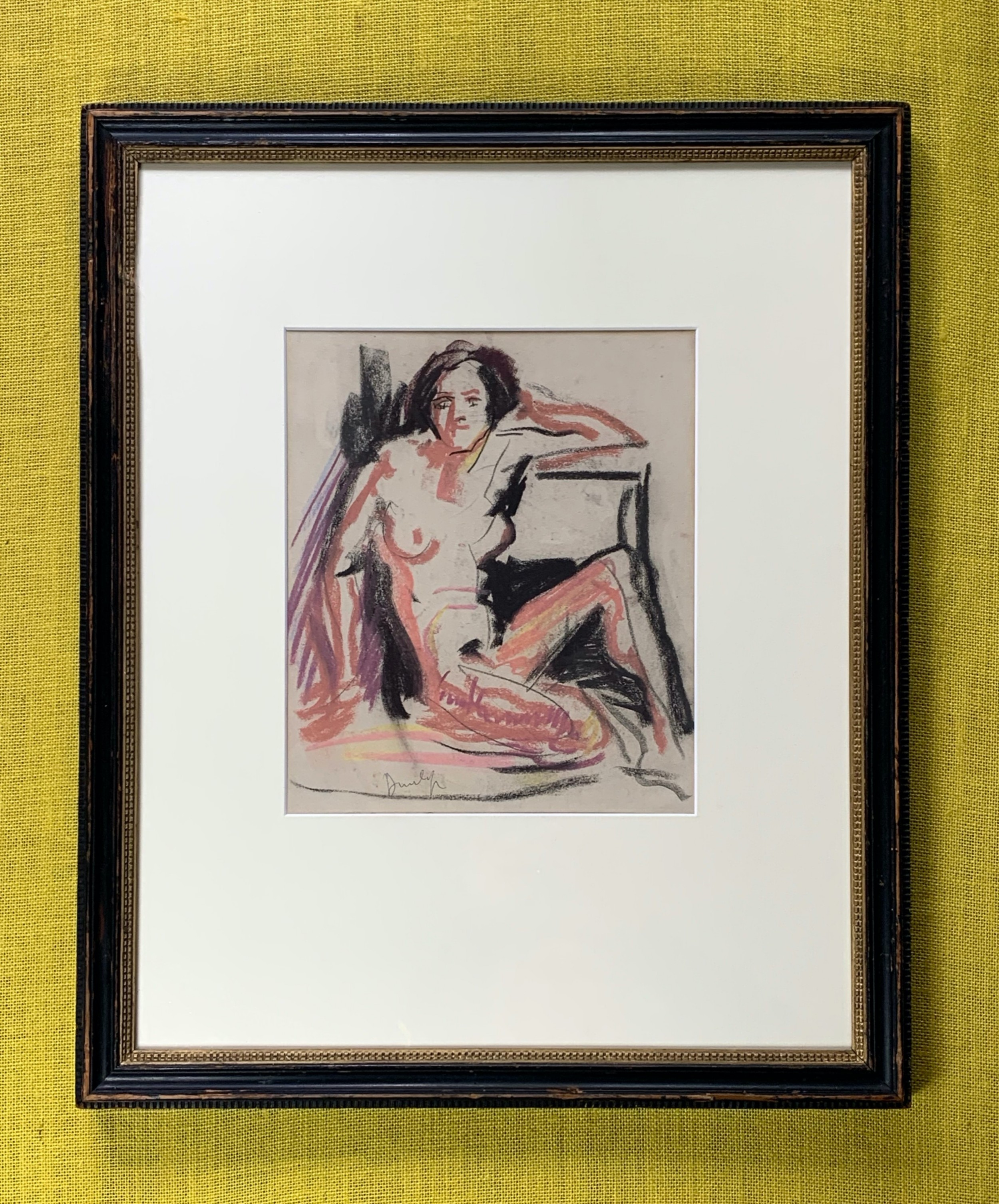 impressionistic mid century british female nude crayon study by ronald ossory dunlop 18941973