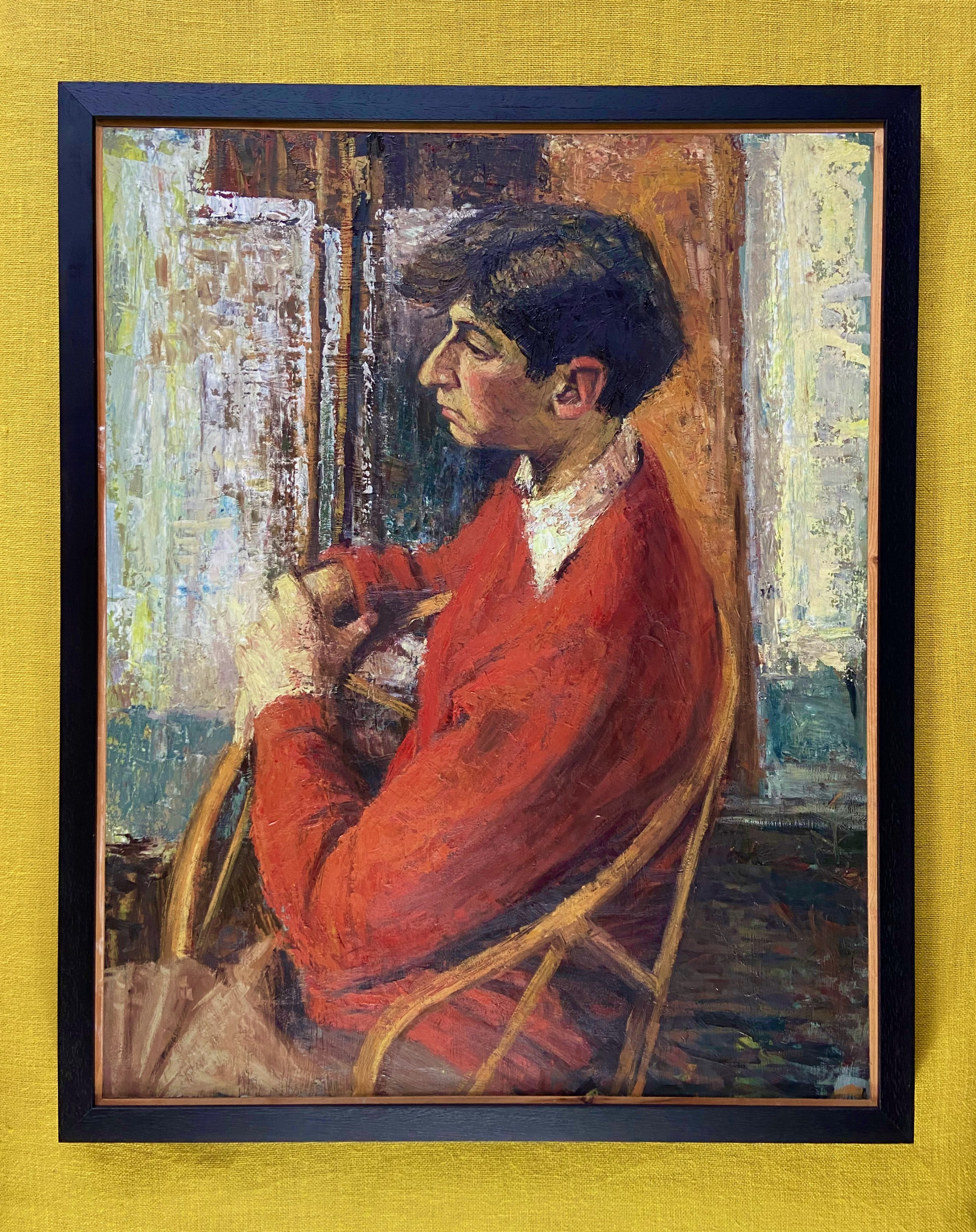 modern british school oil on board portrait of a young man in profile
