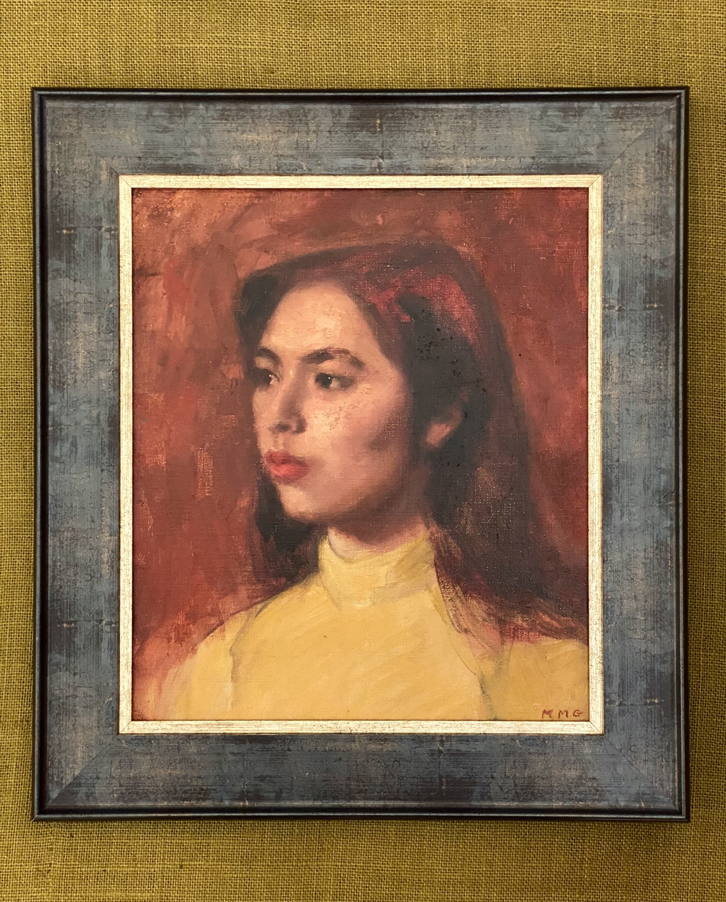 modern britsh oil on board study the girl in the yellow sweater circa 1960