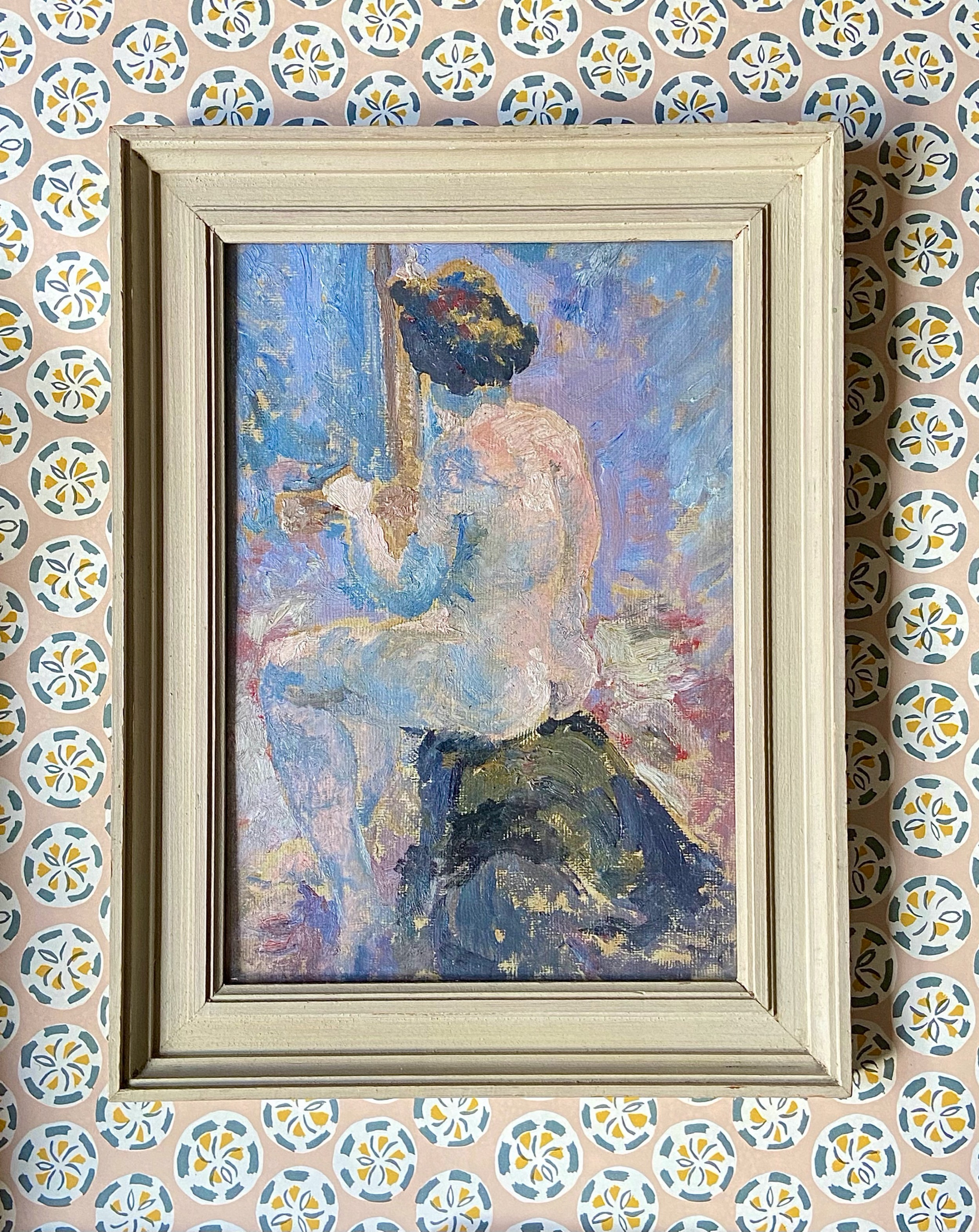 female nude 'the artists muse' oil on paper study attributed to ronald ossory dunlop 18941973