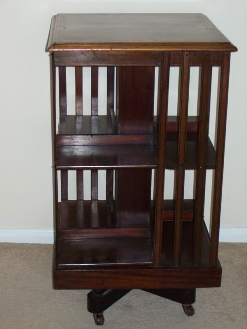 edwardian floor standing revolving bookcase - photo angle #2