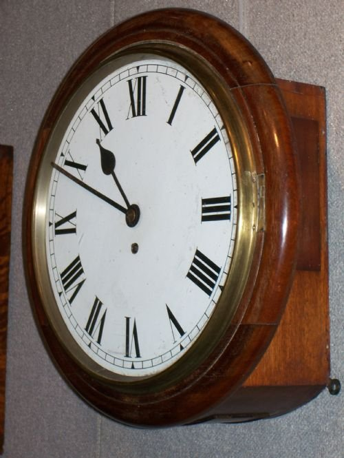 Late 19th Century Mahogany Cased Fusee Dial Office School Railway
