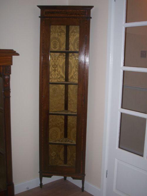 Edwardian Tall Slim Corner Cabinet | 205564 | Sellingantiques.co.uk